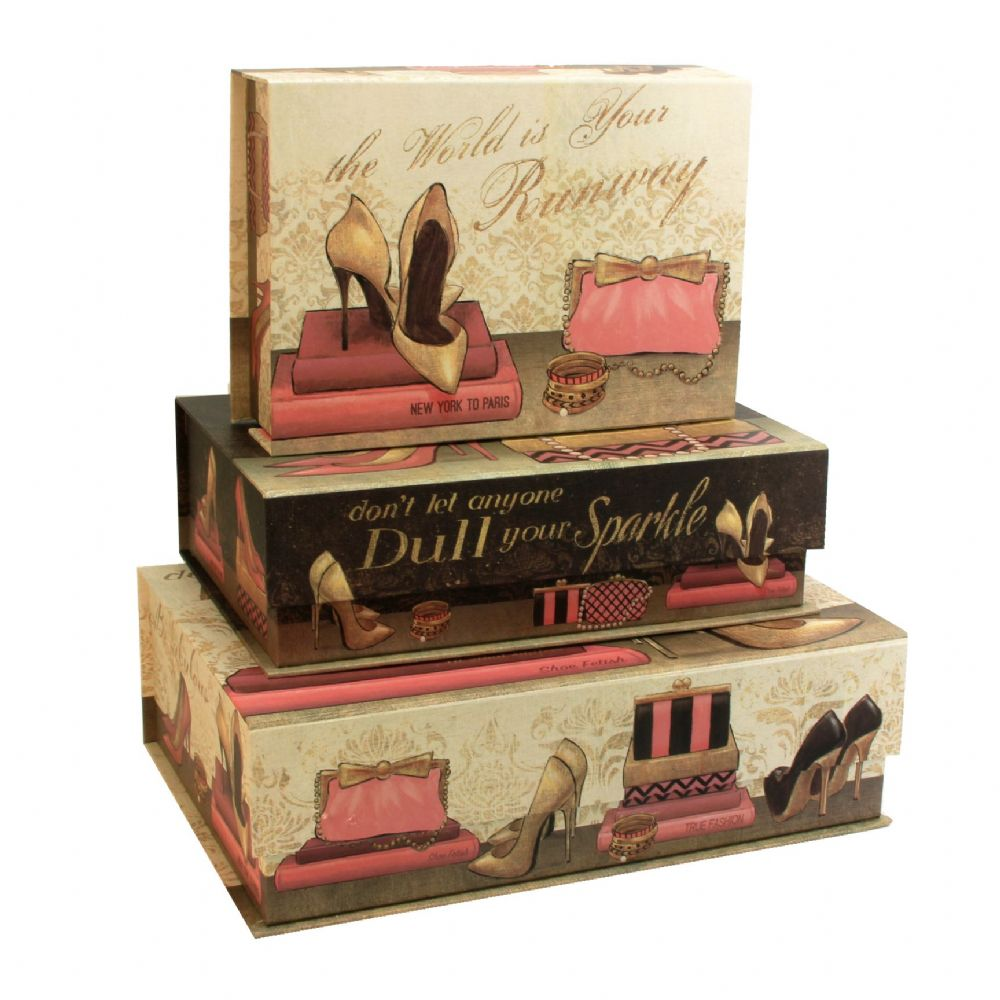 Set Of 3 Large Decorative Storage Boxes - 'Pretty In Pink' Stacking Boxes With Lids